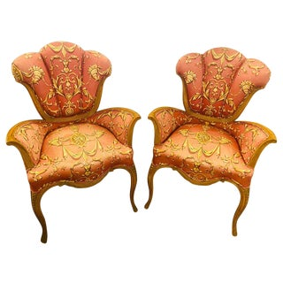 1940s Mid-Century Modern Carved Grosfeld House Sweetheart Chairs-a Pair For Sale