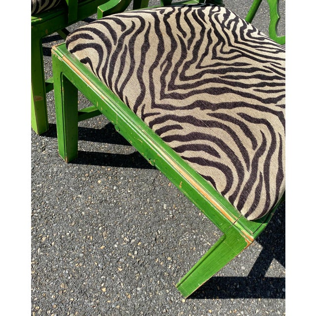 Vintage Hollywood Regency Green Pagoda Chairs with Zebra Fabric - a Pair For Sale - Image 9 of 13