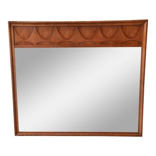 Broyhill Brasilia Sculpted Walnut Mid-Century Modern Framed Mirror For Sale