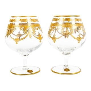 Pair of Murano Crystal Cognac Glasses