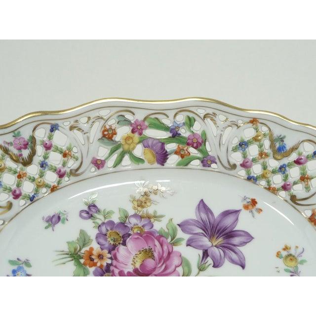 Vintage Porcelain Schumann Dresden Floral Bouquet Oval Serving Dish W Handles - Image 5 of 8