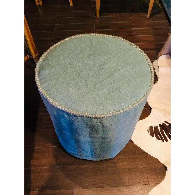 Blue Linen Slipcovered Stools For Sale - Image 8 of 8