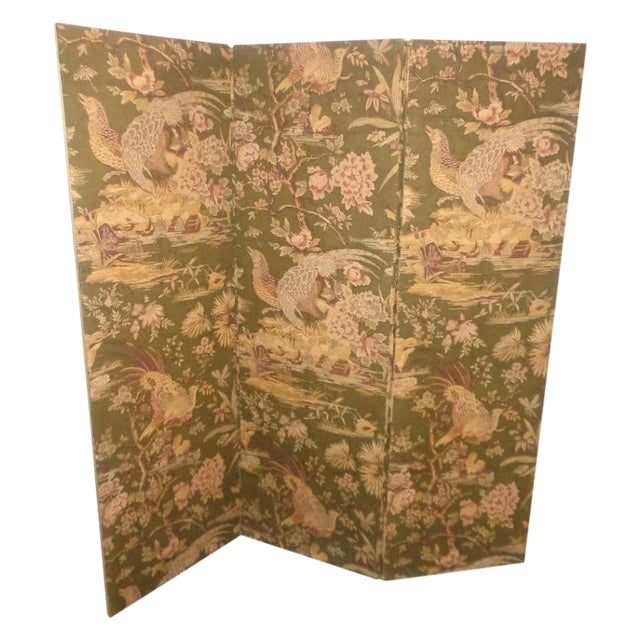 Vintage Olive Green Pheasant Fabric Room Screen - Image 1 of 4