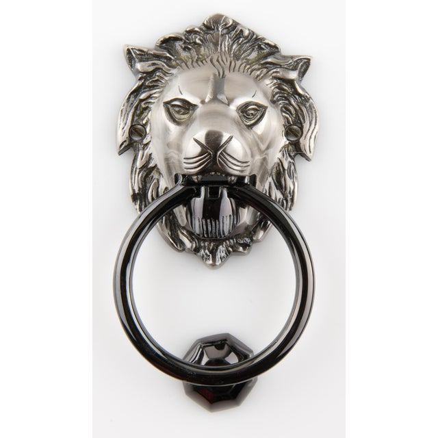 Art Deco British Colonial Pewter Plated Solid Brass Lion Head Doorknocker For Sale - Image 3 of 4
