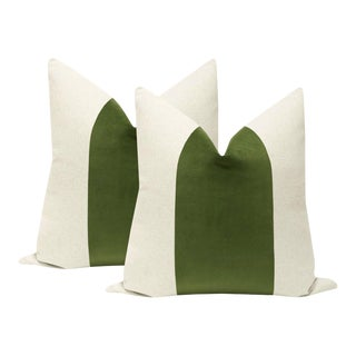 "22"" Peridot Green Velvet Panel & Linen Pillows - a Pair For Sale"