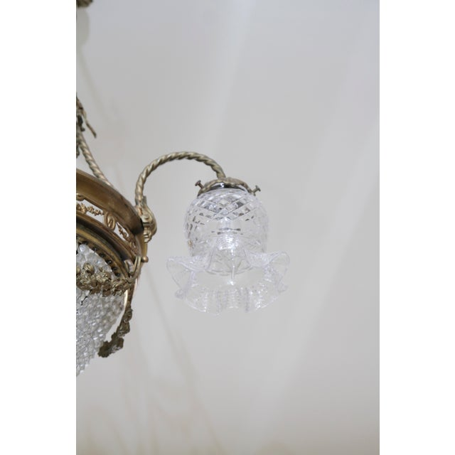 French 19th Century Empire Style Half Circular Crystal & Bronze Chandelier For Sale In New York - Image 6 of 11