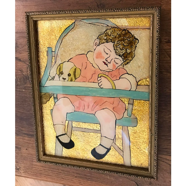 Nice vintage reverse paint on glass baby sitting in high chair, asleep. This is just delightful! A nice piece of folk art!