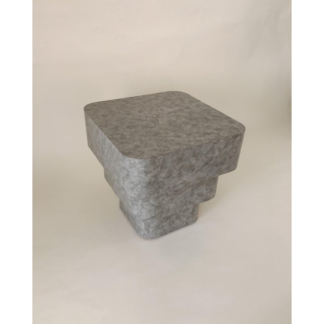 Vintage glossy 1980s end table made of gray marble laminate. This piece was custom made in Ft. Lauderdale, FL and is in...