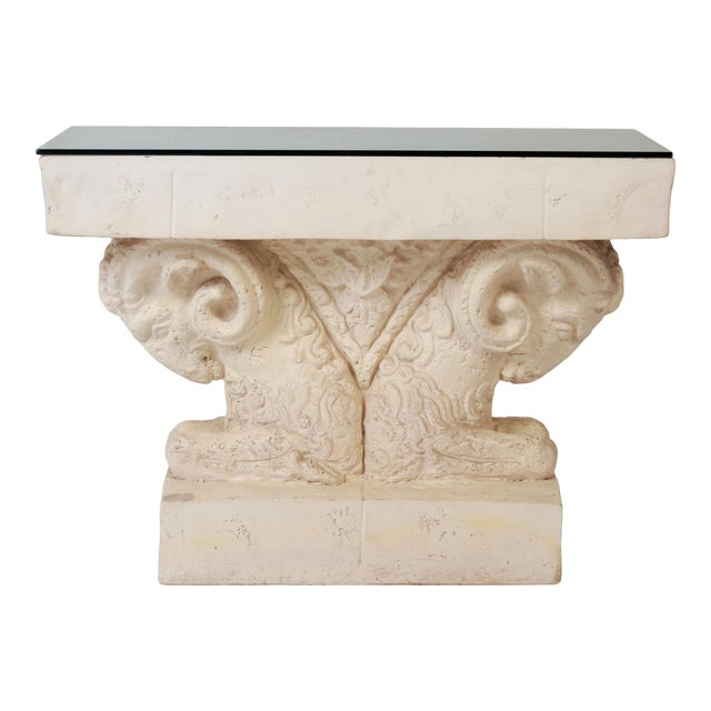 Neoclassical Double Rams Head Plaster Console Table For Sale