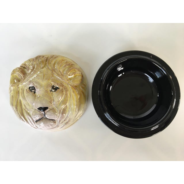 Ceramic 20th Century Hollywood Regency Pottery Lion Lidded Box-Made in Italy For Sale - Image 7 of 9