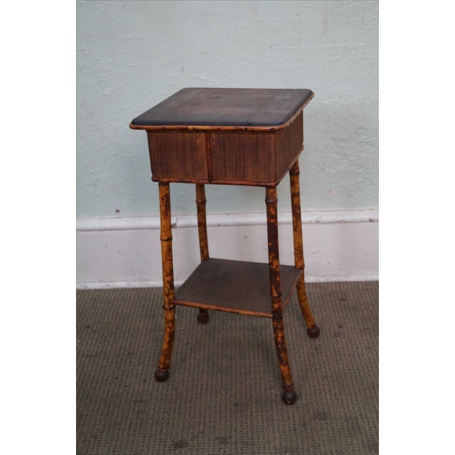 Antique Burnt Bamboo Rattan Lift Top Side Table - Image 6 of 8