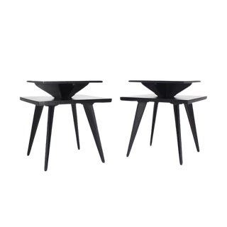 Black Lacquer Square Step Side Tables on Tapered Legs - a Pair For Sale