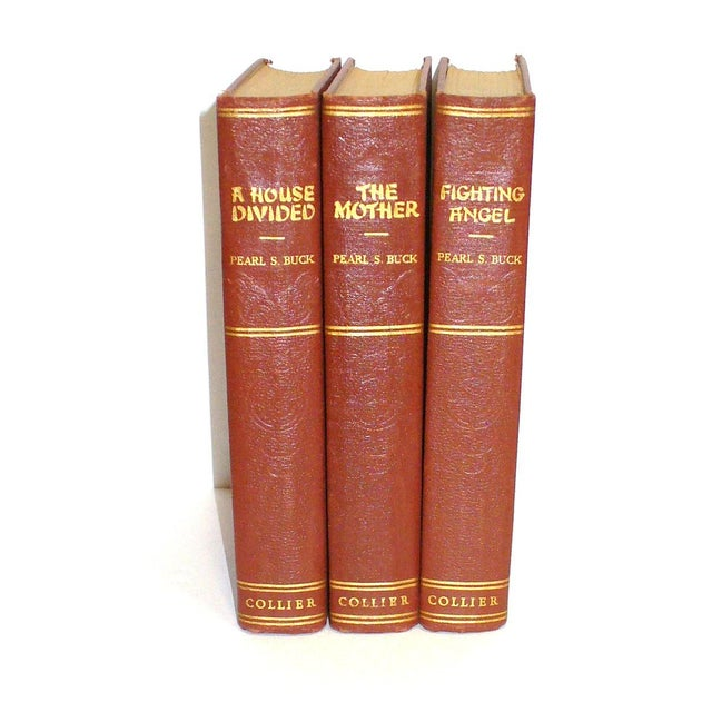 Asian 1930's Burgundy and Gold Pearl S. Buck Books - Set of 3 For Sale - Image 3 of 3