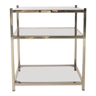 Pair of Nickel Side Tables With Three Glass Shelves, C. 1950 For Sale