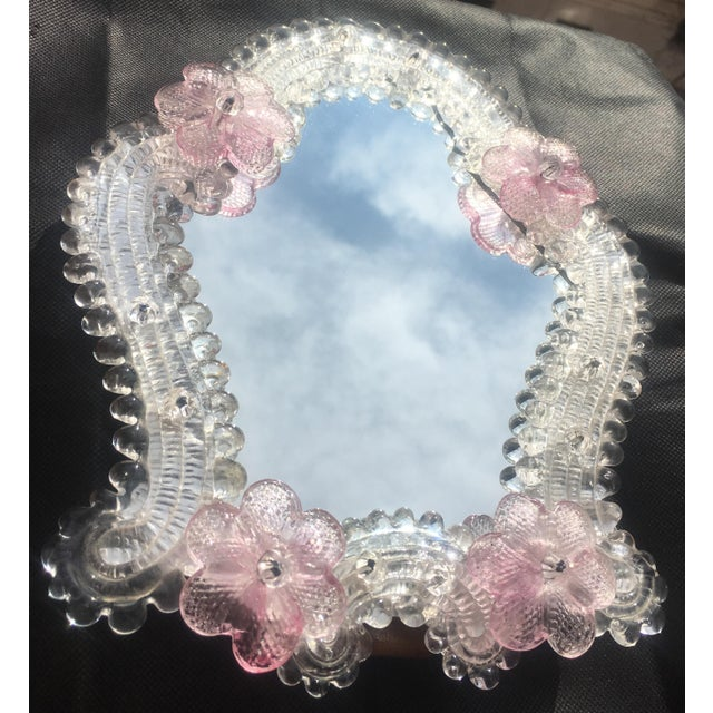 1950s hand-made Murano glass mirror from Venice, Italy. An original vintage item in excellent condition. The mirror frame...
