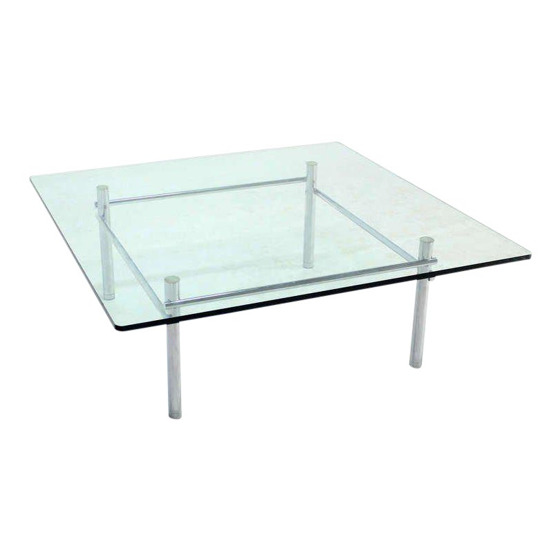 Lovely Solid Chrome Base With Heavy Steel Bars And Square Glass Top Coffee Table Decaso