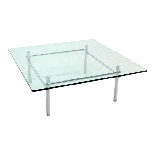 Solid Chrome Base with Heavy Steel Bars and Square Glass-Top Coffee Table For Sale