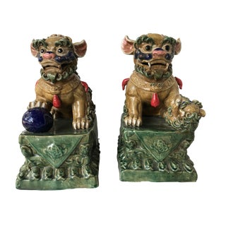 "Lg Colorful Foo Dogs - a Pair 16.75"" H"