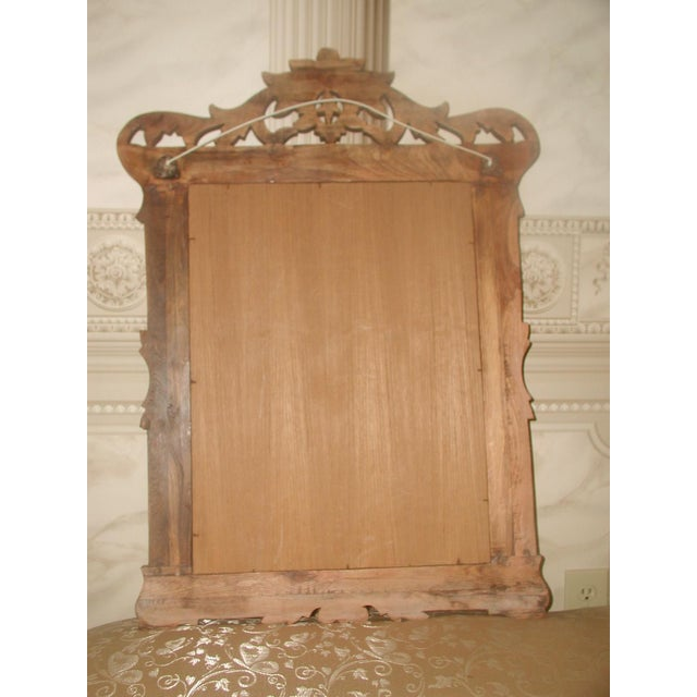 Brown Carved Wooden Mirror 19th Century For Sale - Image 8 of 8