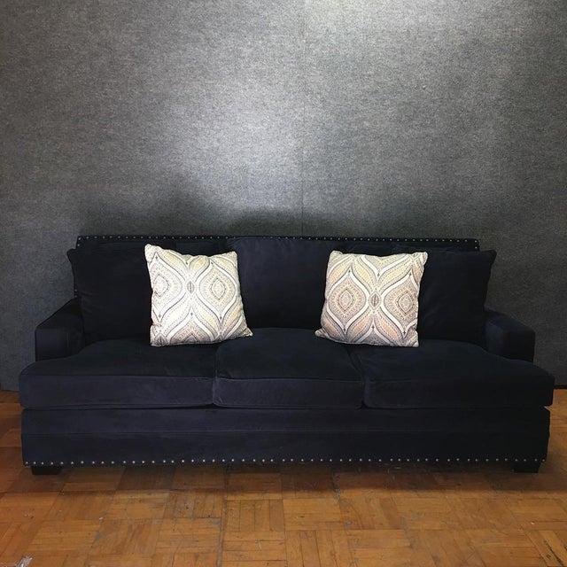 Living Spaces Blue Faux Velvet Oversized Isabelle Sofa - Image 3 of 10