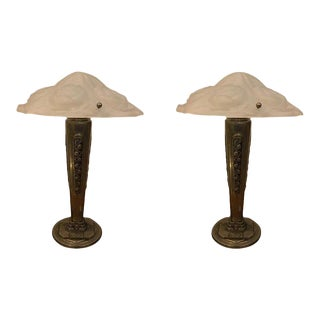 Pair of French Art Deco Floral Table Lamps Signed Degue For Sale