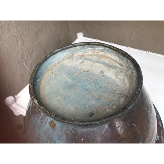 Large Handmade Copper Pedestal Bowl For Sale In Monterey, CA - Image 6 of 7