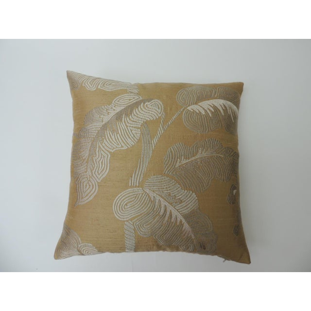 """Metal Pair of Golden Silk Embroidery """"Royal Palm"""" Silk Decorative Pillows For Sale - Image 7 of 7"""