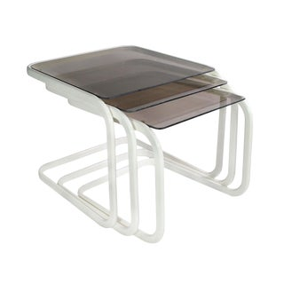 1970's Vintage Milo Baughman for Dia White & Smoked Glass Nesting Side Tables - Set of 3 For Sale