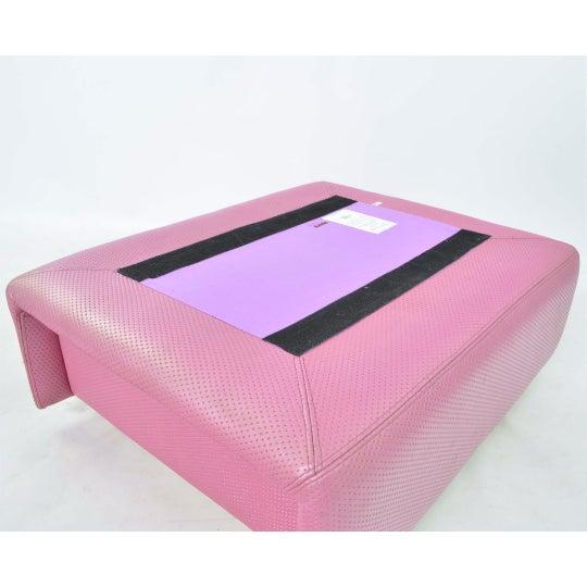 Fratelli Saporiti Hot Pink Leather Ottoman - Image 4 of 6