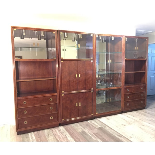Henredon Campaign Wall Unit W/ Curio Display Cabinets, Bookshelves and Dual Door Cabinet - 4 Pc. Set For Sale - Image 13 of 13
