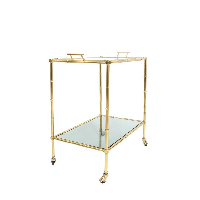 Faux Bamboo Brass Bar Cart with Removable Glass Tray For Sale