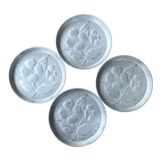 German Dogwood Floral Hammered Coasters - Set of 4