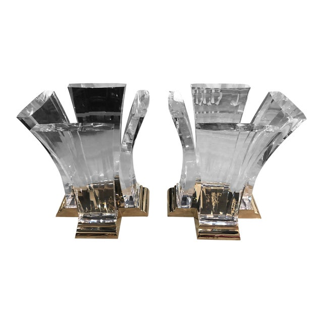 Vintage Jeffrey Bigelow Hollywood Regency Lucite and Brass Dining Table Bases - A Pair For Sale
