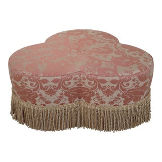 Baker Damask Upholstered Ottoman W. Decorative Fringe