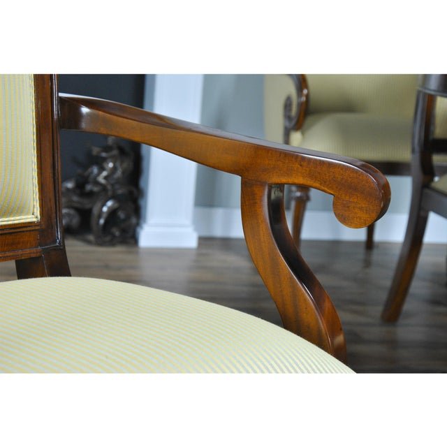 Traditional Tall Back Upholstered Arm Chairs - Pair For Sale - Image 3 of 8