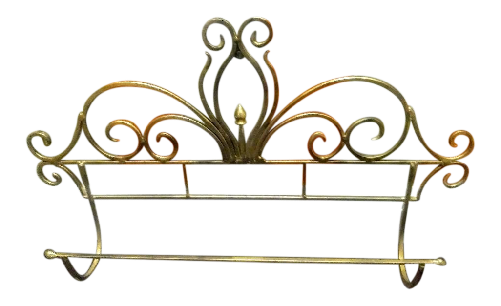 Image of: Extra Large Wrought Iron Gold Wall Bath Towel Holder Chairish