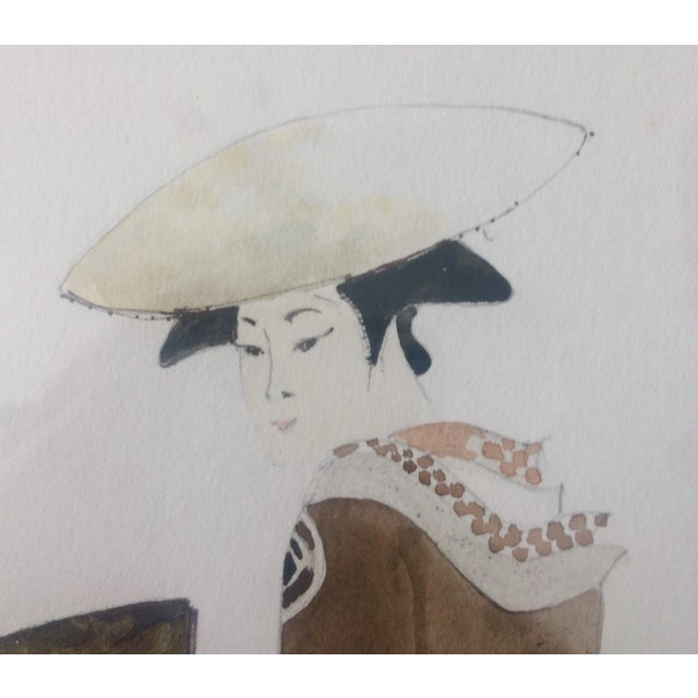 1980s Chinoiserie Geisha Portrait Watercolor Artwork For Sale In Nashville - Image 6 of 11