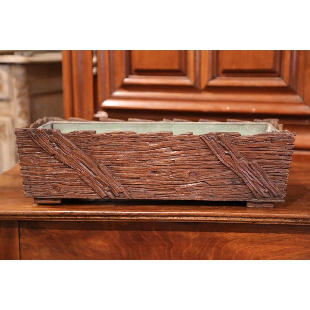 Metal 19th Century French Black Forest Carved Walnut Jardiniere With Zinc Liner For Sale - Image 7 of 9