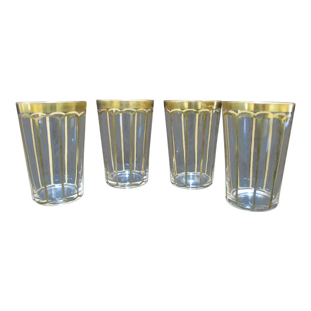 Vintage Mid Century Hand Cut Fine Crystal & Gold Gilt Etched Poppy Flower Glass Set- 4 Pieces For Sale