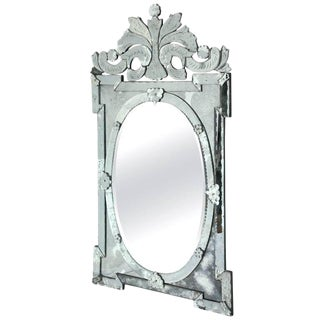Monumental Venetian Mirror With Hand Etched Designs, 1940's For Sale