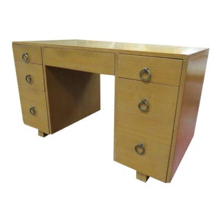 Vintage Mid Century Modern John Widdicomb 7 Drawer Tanker Desk For Sale