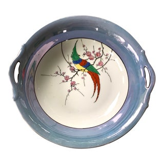 Noritake Lusterware Serving Bowl, Hand Painted For Sale
