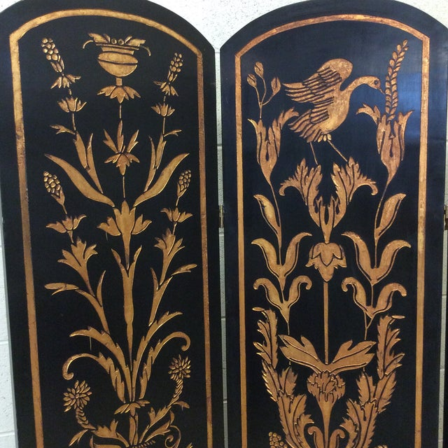 Black Lacquer & Gold Leaf Chinoiserie Wood Carved 3-Panel Screen Room Divider For Sale - Image 4 of 11