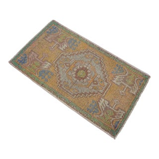 Distressed Low Pile Turkish Yastik Rug Faded Kitchen Sink Mat - 1'9'' X 3'1'' For Sale