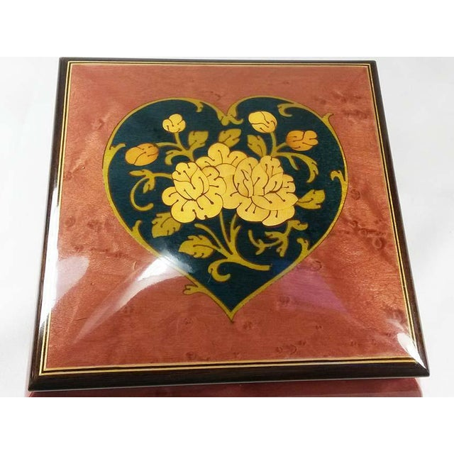 Italian Italian Inlaid Burl Wood Reuge Music Box For Sale - Image 3 of 6