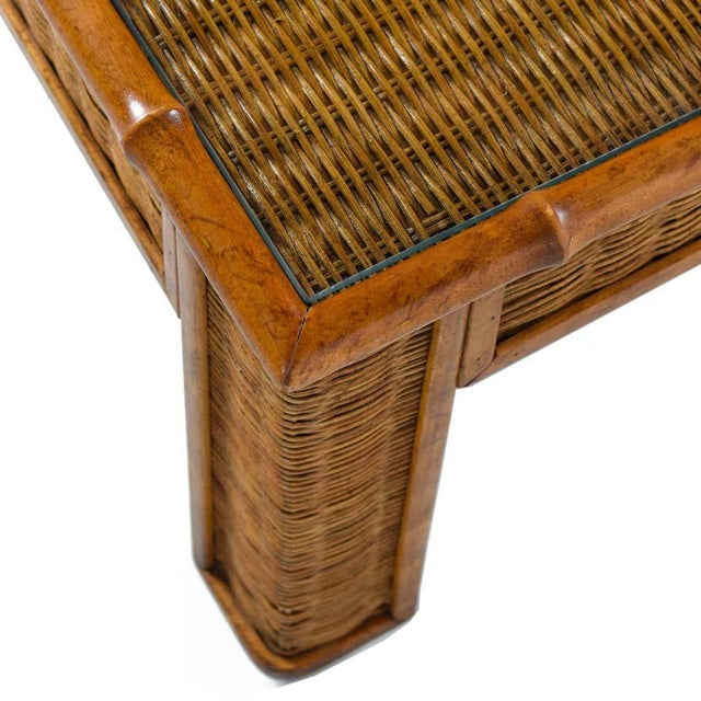 1970s Modern Glass Panel Reed Rattan Bamboo Coffee Table For Sale In Tampa - Image 6 of 8