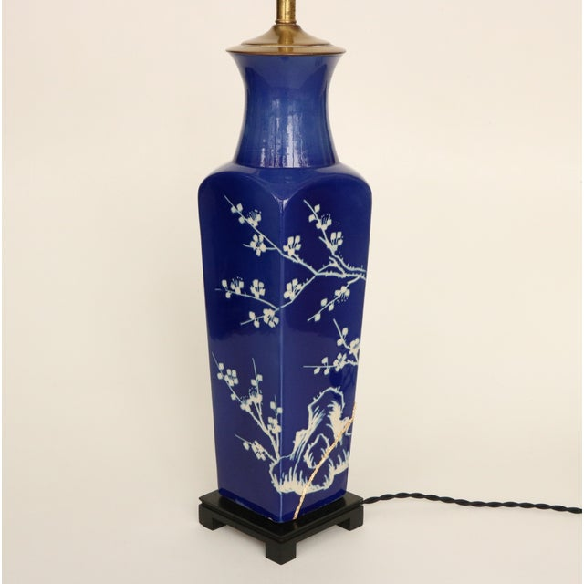 Kintsugi-Style Gold Mended Cobalt Table Lamp For Sale - Image 5 of 9