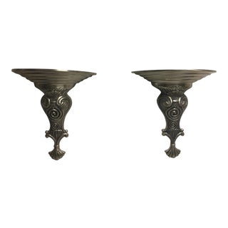 Art Deco Style Iron Wall Sconces - a Pair