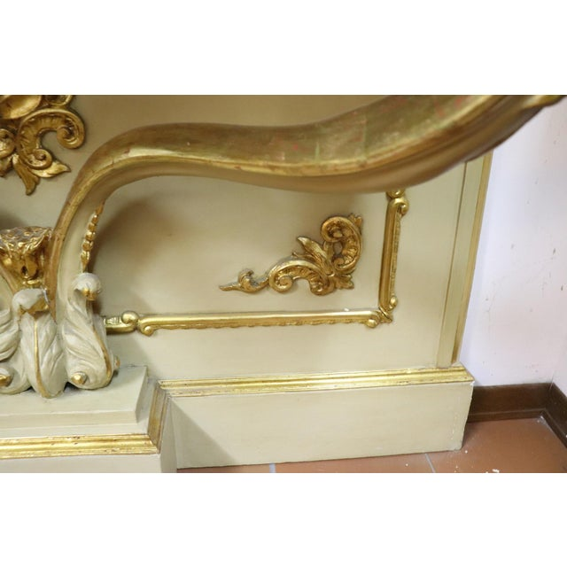 Mid 19th Century 19th Century Italian Golden and Lacquered Wood Console Table With Marble Top For Sale - Image 5 of 11