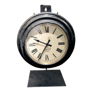 English Railroad Station Clock on Custom Iron Stand